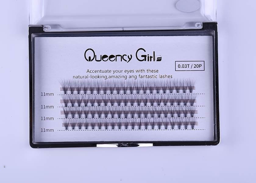 0.03mm 20D Cluster Eyelash Extensions , Volume Individual Lashes 8mm - 12mm Length